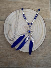 Ketting lang kobalt blauw met dromenvanger