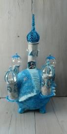 Klei-kasteel lampje blauw/zilver