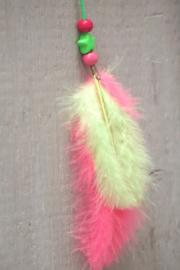 Haarveer neon roze en groen
