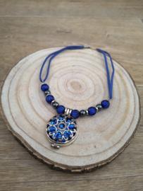 Ketting kobalt blauw en hematiet edelstenen