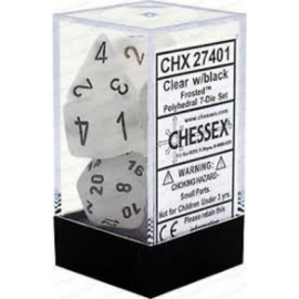 Dice Set Frost Poly Clear-Black (7)