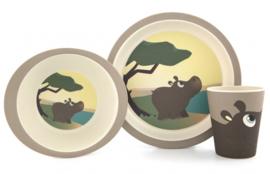 Yuunaa Bamboe kinderservies Nijlpaard