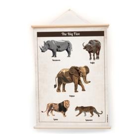 Schoolplaat Big Five - Kinderkamer poster op houten rol
