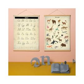 Schoolplaat Alfabet - Kinderkamer poster op houten rol
