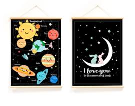 Schoolplaat Planeten - Kinderkamer poster op houten rol