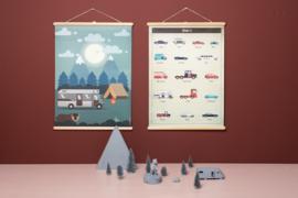 Schoolplaat Auto's - Kinderkamer poster op houten rol