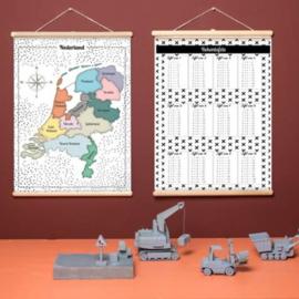 Schoolplaat Nederland en Rekentafels - Kinderkamer poster op houten rol