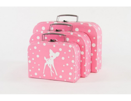 Cara Caro koffersetje Bambi - Roze
