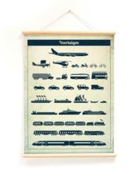 Schoolplaat Vervoer - Kinderkamer poster op houten rol