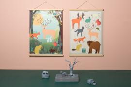 Schoolplaat Bosdieren - Kinderkamer poster op houten rol