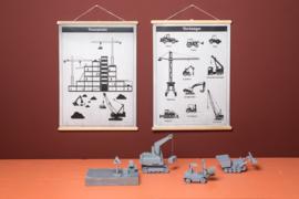 Schoolplaat Werktuigen - Kinderkamer poster op houten rol