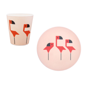 Global Affairs - Plentimals - bamboe servies set Flamingo
