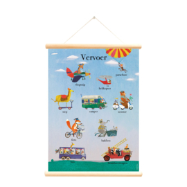 Schoolplaat Vervoer Grootzus - Poster op houten rol