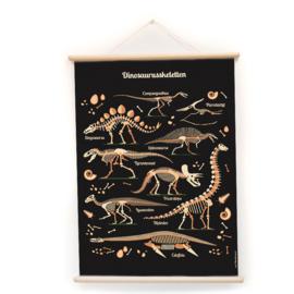 Schoolplaat Dinosauriers - Kinderkamer poster op houten rol