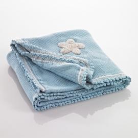 Gebreid deken blauw (95x75cm)