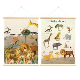 Schoolplaat Wilde Dieren Grootzus - Poster op houten rol