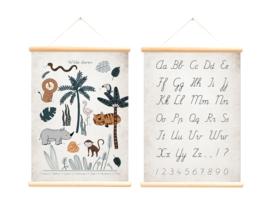 Schoolplaat Alfabet & Wilde dieren - Poster op houten rol