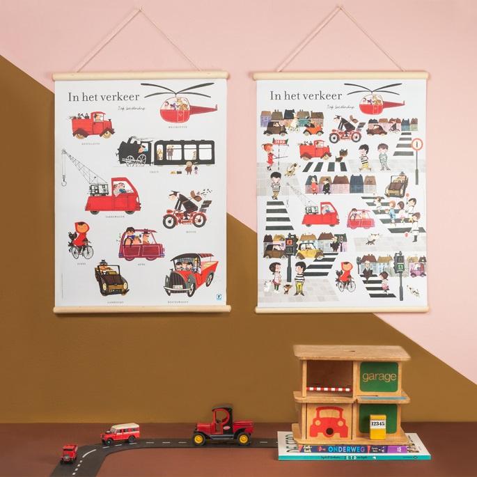 Schoolplaat In het verkeer - Kinderkamer poster op houten rol
