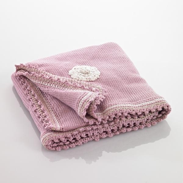 Gebreid deken roze (95x75cm)
