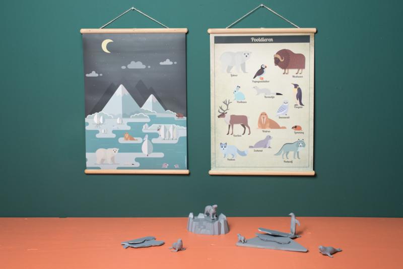 Schoolplaat Pooldieren - Kinderkamer poster op houten rol