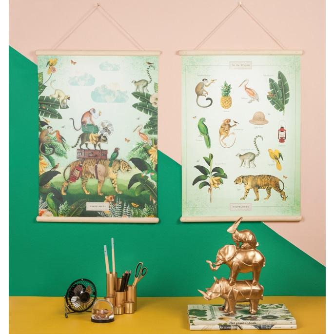 Schoolplaat In de tropen - Kinderkamer poster op houten rol
