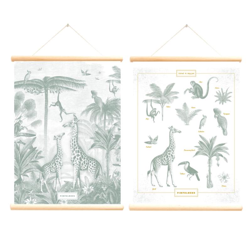 Schoolplaat Giraf en Aapjes - Pimpelmees - Poster op houten rol