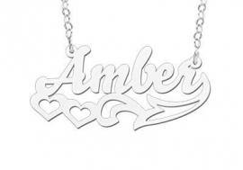 ZILVEREN NAAMKETTING NAMES4EVER AMBER