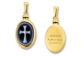 Gouden assieraad met camee en gravure Latijns Kruis