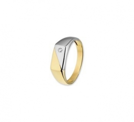 BICOLOR HERENRING MET DIAMANTJE