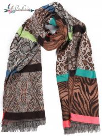 Zachte sjaal met verschillende dierenprints  bruin