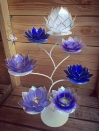 Purple Lotus Boom   7 capiz waxinelicht houders inclusief standaard   Wit