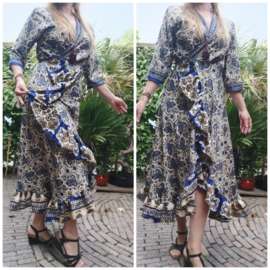 Ibiza Dress one size fits all | Wikkeljurk | sari |  blauw met creme