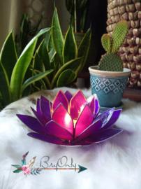 Lotus Waxinelicht Violet zilveren rand
