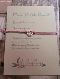 Verstelbare Make A Wish Bracelet Heart   Happy