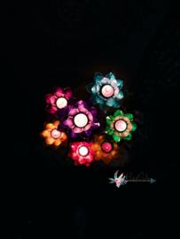 Complete set Lotus waxinelicht 7 kleuren, 7 chakra's inclusief standaard