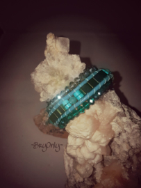 Green Punch wrap, Turquoise en hematiet armband