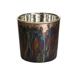 """Bronskleurige glazen waxinelichthouder XXL """"oil"""" van het merk PTMD."""