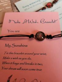 Verstelbare Make A Wish Bracelet Mandala   Sunshine