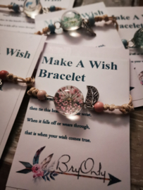 Verstelbare Make A Wish Bracelet pinkish Flower
