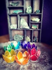 Set van 7 Lotus Chakra waxinelichtjes