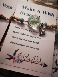 Verstelbare Make A Wish Bracelet green Flower