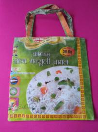 Tassen gerecyclede rijstzakken, omkeerbaar