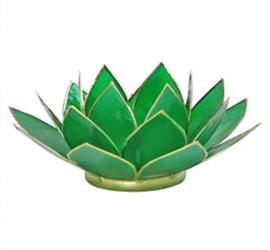 Lotus waxinelicht groen | zilver