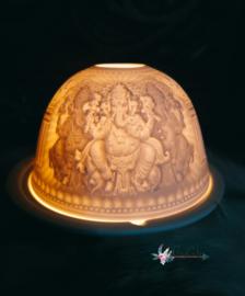 Sfeervolle roomwitte waxinelicht van porselein 'Ganesha'