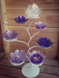 Purple Lotus Boom | 7 capiz waxinelicht houders inclusief standaard | Wit