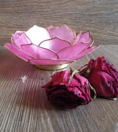 Bladvorm Lotus sfeerlicht roze | gouden rand