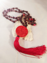 Mala zwart /rood hematiet en lavasteen