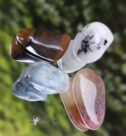 You Rock | Inner peace |larimar, jaspisl, tijgeroog, regenboog maansteen | S