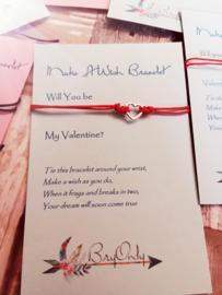 Verstelbare Make A Wish Bracelet Will you be my valentine