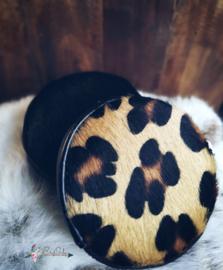 Ronde  portemonee met koeienvacht en luipaard print